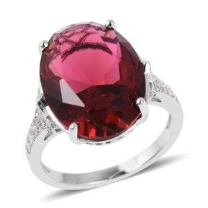 Jewelry - NWOT Simulated Ruby and white CZ ring